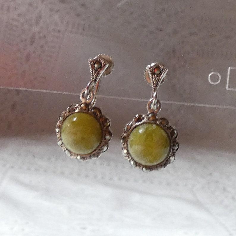 Sterling Silver Marcasite Unknown Green Stone Drop Earrings