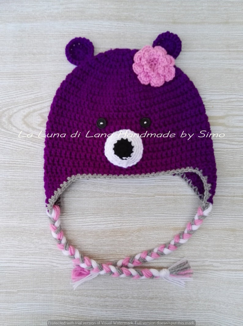 Cappello orsetto viola cappellino per bambina cappello  7c10b4d3c516