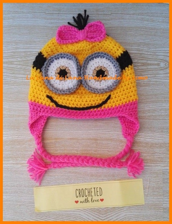 Girl s hat for a small crochet in the shape of a minion  604be89c9fa4