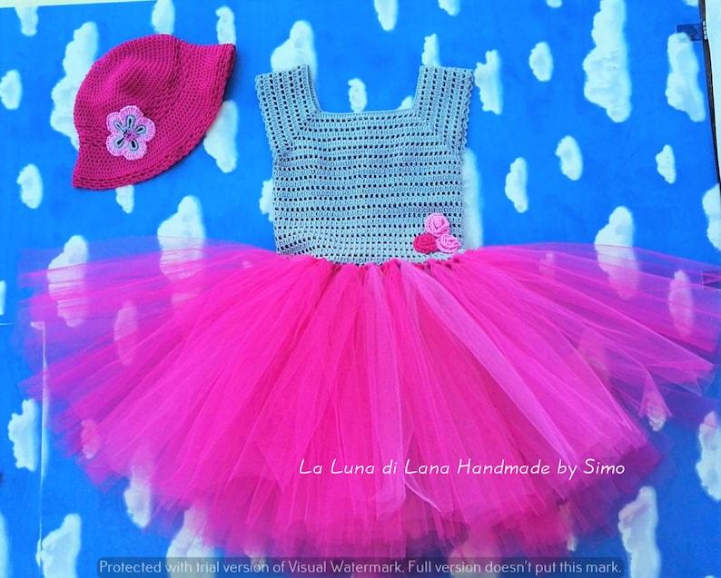 Abito neonata uncinetto con gonna in tulle vestito neonata  610360cb8f0