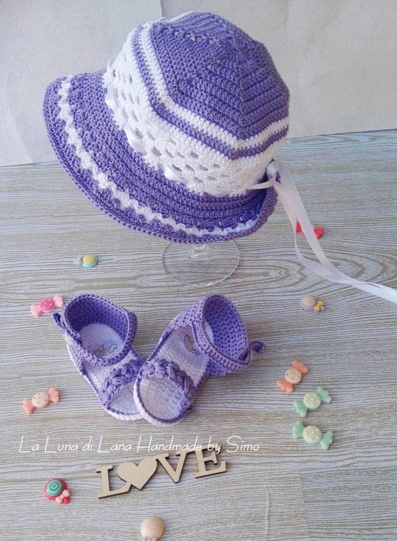Cappello Da Sole Neonata Cappellino Bambina Uncinetto Etsy