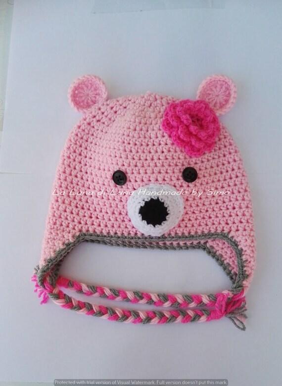 sempre popolare alta moda marchio famoso Cappello con paraorecchie bambina o neonata, cappellino uncinetto, cappello  rosa, cappello orsetto, cappello orecchie bambina, regalo bimba