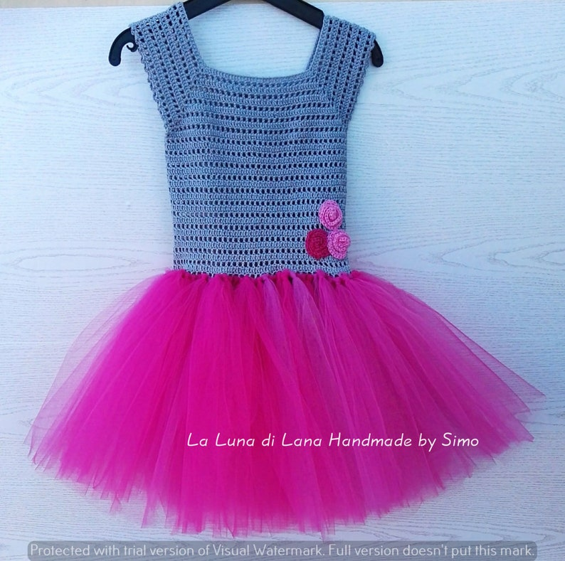 handmade baby dress Newborn crochet dress with tulle skirt perfect for ceremony birthday party and photo shoots