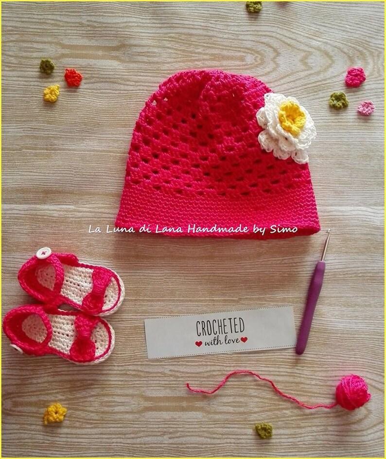 Cappello Bimba Cotone Uncinetto E Sandali Coordinati Completo Etsy