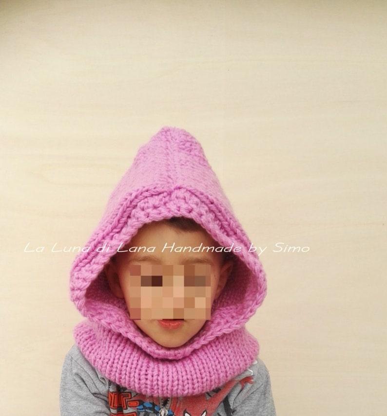 Cappuccio sciarpa per bambini fatto a maglia scaldacollo con  e1c7a6bd6fd3