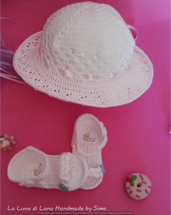 seleziona per il più recente eccezionale gamma di colori molto carino Cappello battesimo bambina, cappello cerimonia, cappellino neonata,  cappellino uncinetto, cappello estate bimba, completo cappello scarpine