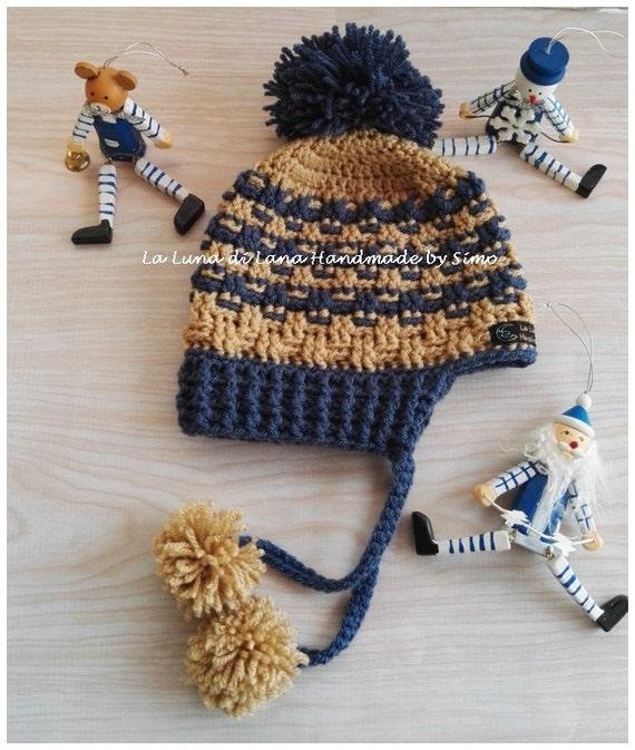 Cappello di lana con paraorecchie per bimbo cappello pon pon  a8f62df4c0c9