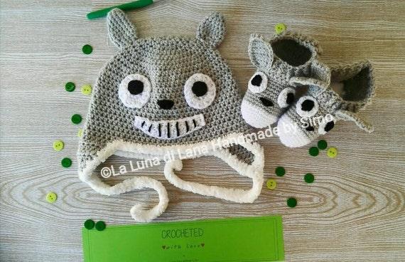 Totoro Haak Pasgeboren Muts En Slofjes Vorm Van Totoro Etsy