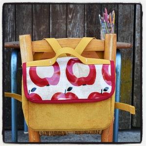 school bag mustard multicolored triangles velvet boy kindergarten binder backpack