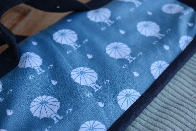 Maternal umbrella boy binder backpack grey velvet fabric and umbrella-folded fabric