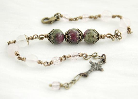 Rosary Bracelet Handcrafted in Rose Quartz Gemstones