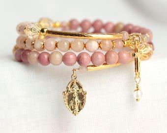 Rosary Bracelet, Gemstone Rosary Bracelet, Gold Rosary, Catholic Jewelry, Pink Rosary, Rhodonite Rosary, Quartz Rosary, Morganite Rosary