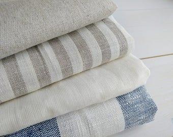 Linen fabric bundle - Natural linen - Natural  fabric - Striped fabric - Neutral colors fabrics - Fat quarter bundle - Linen cotton blend