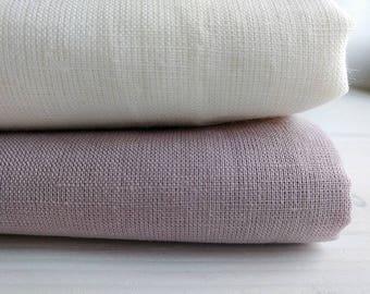 """Linen fabric 86"""", 102"""" width - Natural linen - Natural flax fabric - Ivory linen - Pale pink linen - Bedding fabric"""