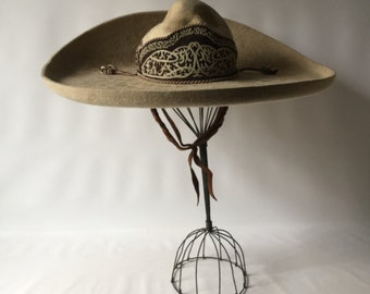 Sombrero hat beaver felted beaver skin vintage Mexican sombrero intricate  hat band decorated leather braided chin strap piece of history abce3417324