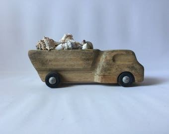 Vintage wooden truck so adorable dump truck solid wood carved truck wooden wheels metal axles seashell delivery kids playtime loved lots