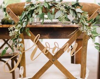 Wood cut bride and groom signs, Laser cut Mr and Mrs Signs, Mr and Mrs Chair Signs, Mr and Mrs, Wooden Wedding Signs, Mr Mrs chair signs