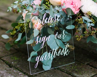 Guestbook Sign, Acrylic Guest Book Sign, Wedding Guestbook sign, lucite guestbook, Please sign our guestbook, acrylic Wedding Signs