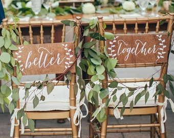 Better Together Chair signs, Mr and Mrs Signs, Mr and Mrs Chair Signs, Mr and Mrs,  Wooden Wedding Signs, Mr Mrs signs, Mr Mrs chair signs
