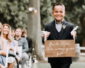 Here comes the bride sign, wedding signs, ringbearer sign, wedding sign, wooden wedding signs, your girl, don't worry ladies, wood -nc