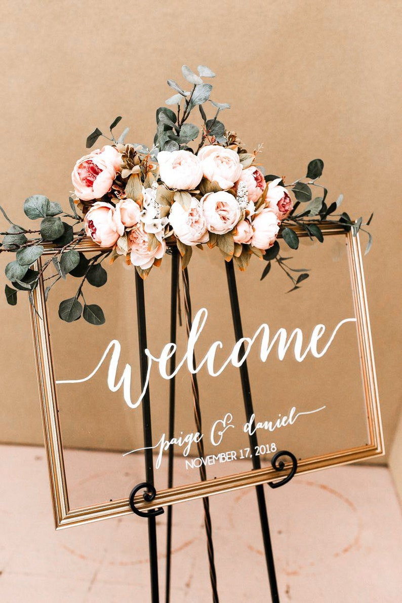 Wedding Welcome Sign  Wedding Signs  Acrylic Wedding Sign  image 0