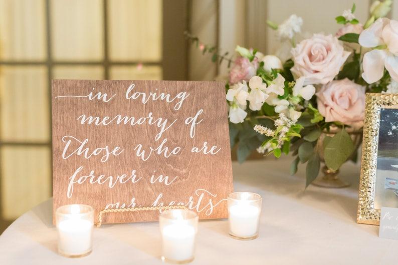 In Loving Memory Sign, In loving memory wedding sign, in loving memory,  wood wedding sign, wood signs, wood in loving memory sign -nc