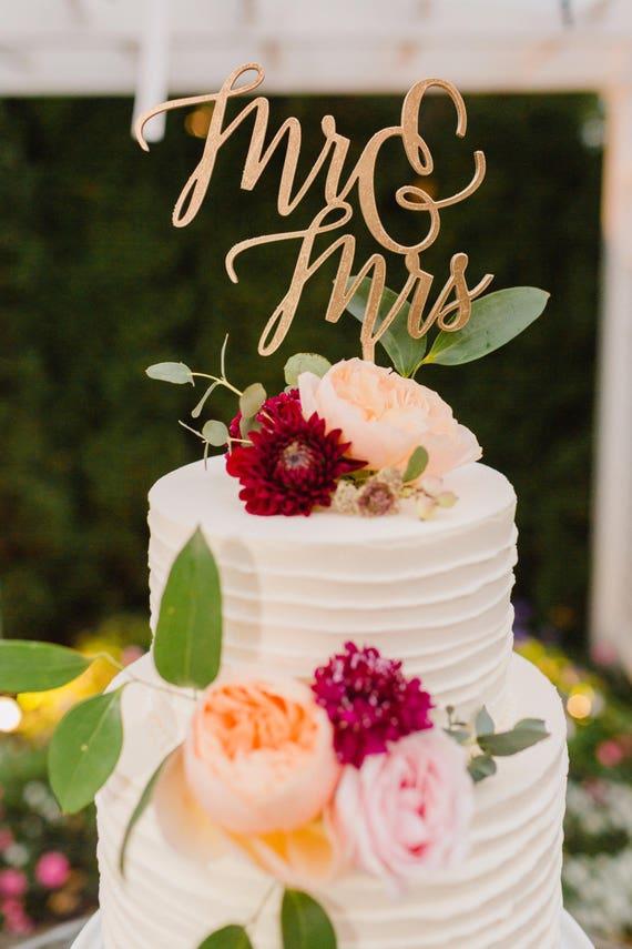 Mr And Mrs Cake Topper Laser Cut Wood Cake Topper Wedding Etsy