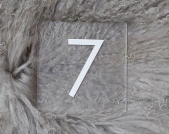 Table numbers, wedding table numbers, acrylic table numbers, lucite table numbers, wedding signs, acrylic wedding signs, acrylic modern