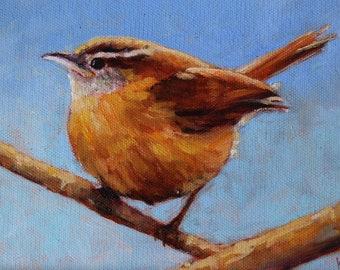 Carolina Wren, Wren Painting, Bird original oil
