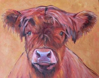 Highland Cow, Cow Oil, Original Oil