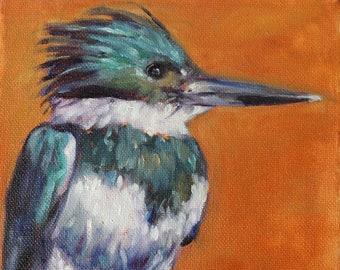 Kingfisher Painting, Bird Art, Original Oil