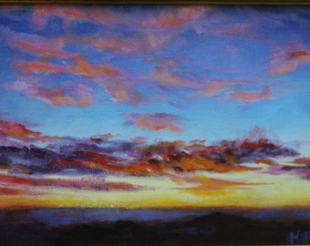 Sunset, Original oil, Landscape