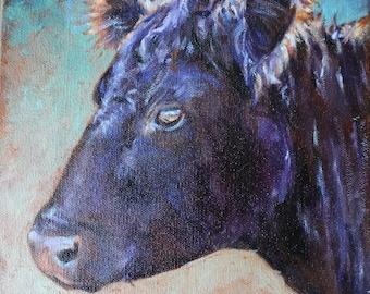 Angus Cow, Black Cow, Cow original oil