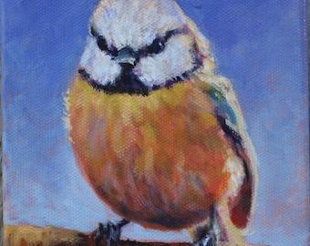 Blue Tit, Bird Painting, Original Oil