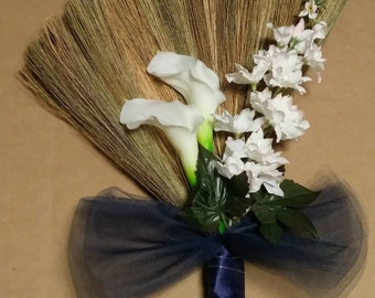 Navy Blue Wedding Broom, Jumping Broom, African American wedding broom