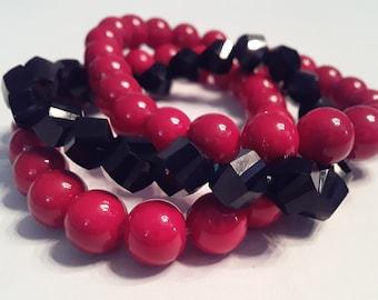 Round Red & Black Bicone bead bracelet