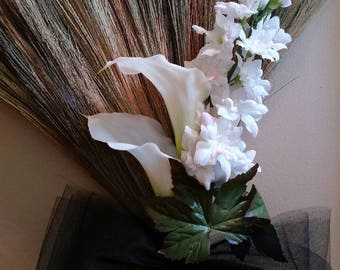 Black and White Wedding Broom, Jumping Broom, African American wedding broom