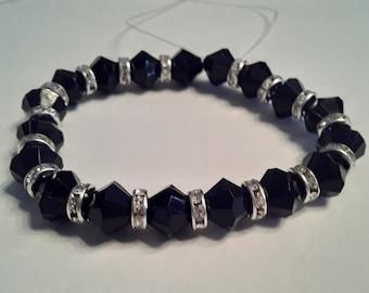 Black bicone bead bracelet with rhinestone spacers