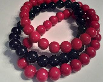 Round Red & Black stretch bead bracelet