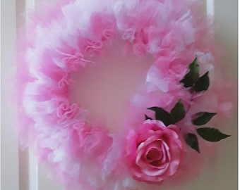 Pink and White Tulle Wreath