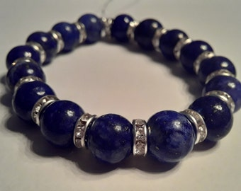 Blue bead bracelet w/ rhinestone spacers