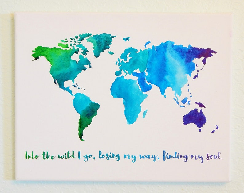 Original Watercolor Map of The World Travel Art With | Etsy