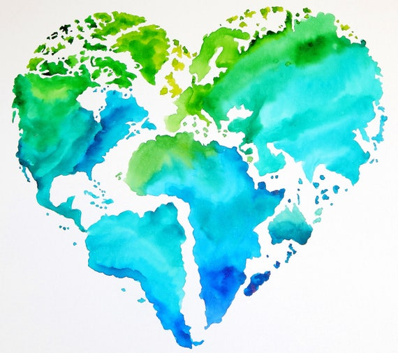 Original Watercolor - Heart Shaped Map of The World - Travel Art - With  Quote