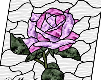 Stained glass pattern rose