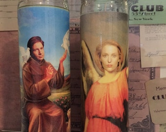 X Files Scully Mulder Prayer Candles