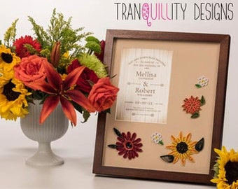 """MADE TO ORDER - Wedding Invitation photo mat, match bride bouquet (10""""x12"""" mat size for 5""""x7"""" invitation, unframed) first anniversary gift"""