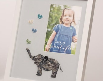 """MADE TO ORDER -Baby photo mat to match nursery decor (10""""x12"""" mat size for 5""""x7"""" photo, framed) baby room, baby nursery art"""