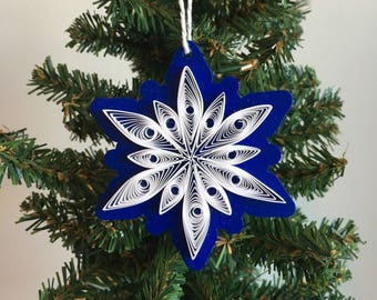 eye snowflake ornament paper quilling design