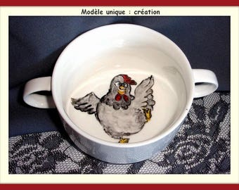 """Bowl """"trembleuse"""" decorated by the french cancan dancer hen!"""