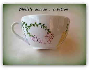 Breakfast porcelain hand painted.